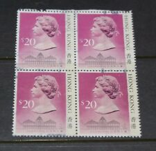 HONG KONG 1987 $20.00 QUEEN ELIZABETH ISSUE IN BLOCK OF 4  F/U