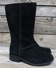 UGG Australia Womens Linford Black Suede Fully Sheepskin Lined Boots US 9 NEW!