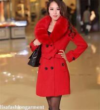 Women's Winter Coat Long Wool Jacket Fur Collar Slim Outwear Ladies Trench coat