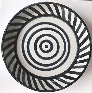 Large Round Circular Black White  Striped Modern Ceramic Glazed Bowl Dish