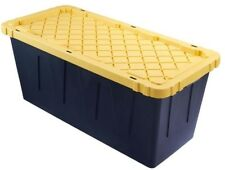 Storage Box Tote Black 55 Gallon Heavy Duty Side Handles Lockable Plastic 4 Pack
