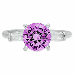 2ct Round Alexandrite Real 18k White Gold 3 Stone Statement Wedding Bridal Ring