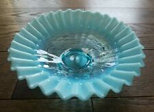 Fenton Opalescent Blue Candy Dish Bowl Ruffled Footed Collectible Stippled 7.5""