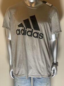 NEW Cotton Crew neck  ADIDAS Mens light Gray  Short Sleeve T-SHIRT XL