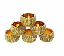 Nirvana-Class 1.5 Dia Indian Art Table Gold Beaded Napkin Rings Holder Set of 6