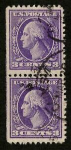 US 1918 #530 - 3c Purple George Washington Vertical Pair (2) Used