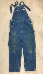 Vintage Distressed Lee Brand Blue Denim Bib Overalls Coveralls
