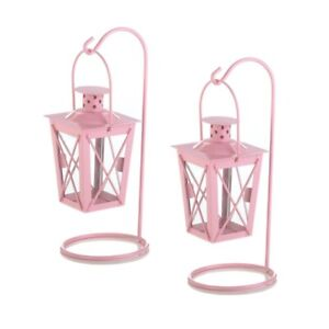 Pink Metal Railroad Candle Lanterns w/Stands 1 pair