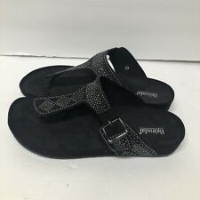 BJORNDAL Women's SZ 12 Nikko Black Rhinestone Thong Sandals Shoes