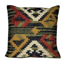 Jute Pillow Cover Throw ArtIndian Jute Cushion Handmade Kilim Boho sham Vintage