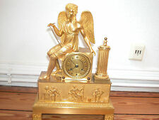 wunderschöne Empire Pendule feuervergoldet  Paris 1820 mantle clock dore Engel