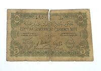 1940 Egypt 5 Piastres WWII Circulated Egyptian Banknote Currency Note