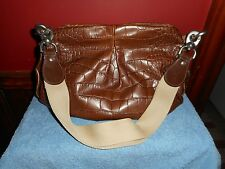 MARNI ITALIAN HANDBAG BROWN LEATHER ALLIGATOR PRINT CHROME HARDWARE VINTAGE BAG