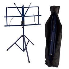 Blue Adjustable Folding Sheet Music Stand Score Holder Mount Tripod Carrying Bag