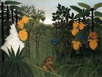 Painting Henri Rousseau The Repast Of The Lion Canvas Art Print