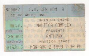 Anthrax Quicksand White Zombie 8/2/93 Cleveland OH Nautica Stage Ticket Stub!