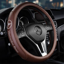 "15"" Car Steering Wheel Cover Genuine Leather For Mercedes-Benz Brown"