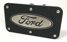 "Tow Hitch Cover with Ford Oval Emblem (Licensed Stainless Steel 2"" Trailer Plug)"
