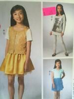 McCalls Sewing Pattern 6832 Girls Childs Cardigan Skirt Leggings  10 1/2-14 1/2