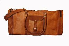 "Men's Genuine Leather Cowhide 24"" Large Capacity Travel Luggage Duffle Gym Bags"