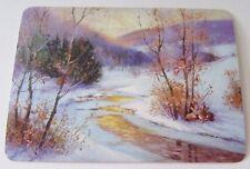 Unused Vintage Christmas Post Card Winter Scene w Stream & Trees
