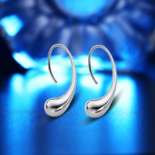 Fashion Women 925 Sterling Silver Plated Water Drops Ear Stud Earring Jewelry