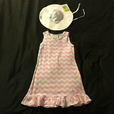 NWT Cute Peach Orange White Chevron Stripe Ruffles Beach Dress White UPF Hat 5