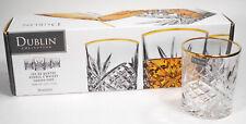 Godinger Crystal Dublin Collection Old Fashioned Glasses Gold Band Set of 4