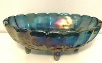 Blue Iridescent Carnival Fruit Bowl Four Footed Harvest Grape Large Oval