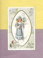 Lovely GIRL HOLDS LAMB On Beautiful Vintage EASTER Postcard