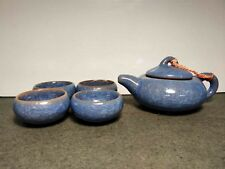 RARE ANTIQUE CHINESE YIXING TEAPOT + 4 CUPS CRACKLE CLAIR DE LUNE MARKED