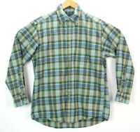 Pendleton Mens Size Medium Green Blue Plaid Front Chest Pocket Button Down Shirt