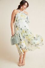 Anthropologie  Garden Party Dress Floral Ruffle Size 10P $240 NWOT