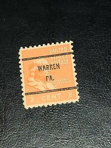 Sc#803 US Stamp 1938 1/2c Franklin Used Prexie Precancel WARREN PA. -#2227