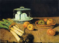 Stunning oil painting Still Life with leeks, cheese and apples free shipping