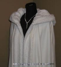 New Ivory Fleece Bridal Cape w/ Faux Fur Cloak Coat By SewingCreators