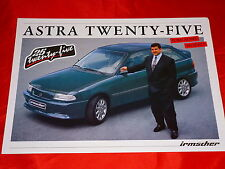 """OPEL IRMSCHER ASTRA F """"Twenty Five"""" Modello Speciale foglio prospetto di 1993"""