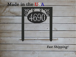 Yard Stake House number  Sign Oval Scroll Work- Hanging look design HN1169