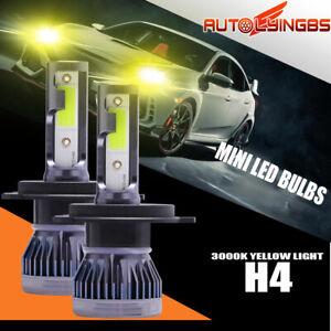 2PCS MINI H4 HB2 9003 LED Headlight Conversion High Low Beam 3000K Yellow Bulbs