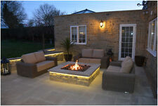 BRIGHTSTAR Mains Natural Gas Fire Pit Burner Only. Square. 18kw Patio Heater UK