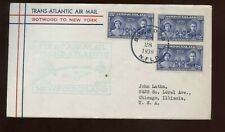 British Commonwealth GB First Flight Cover 1939 Botwood, Newfoundland to NYC