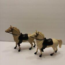 "2 Vintage 7"" Hartland Hard Plastic Western Saddle Horse Cowboy 1960 White & Brow"