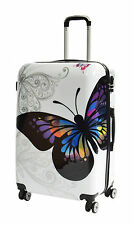 Luggage Suitcase Hard Shell Lightweight 4 Wheel Spinner ABS White Butterfly Bags Large 43x72x30cm 4.4kg
