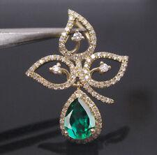 1,90 Karat 585er Gelbgold Natural Green Emerald EGL Zertifiziert Diamant Anhänge