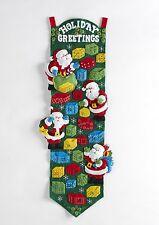 "Bucilla Discontinued ""SANTA HOLIDAY"" Felt Christmas Advent Calendar Kit- OOP"