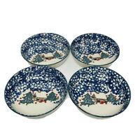 SET OF 4 Tienshan Folk Craft CABIN IN THE SNOW Soup Cereal Bowls Blue Winter