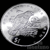 GREY PARROT - $1 Dollar CuNi Coin 1996 LIBERIA AFRICA Preserve Planet Earth BIRD