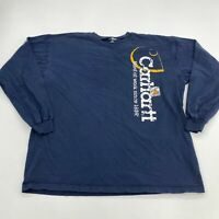 Carhartt T-Shirt Mens XL Navy Blue Long Sleeve Crew Neck 100% Cotton Logo Z49