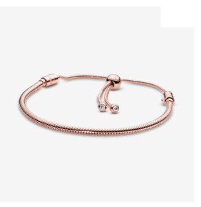 PANDORA Genuine Rose Gold Bracelet Moments Snake Chain Slider # 587125CZ New