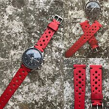 20 mm handcrafted Red leather rally style watch strap veg tanned genuine leather